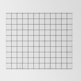 Grid Simple Line White Minimalistic Throw Blanket