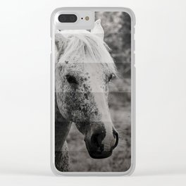GreyScale Horse Clear iPhone Case