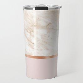 Caramel marble on rose gold blush Travel Mug