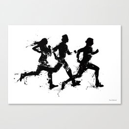 Runners in ink Canvas Print