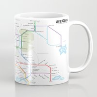 middle earth Mugs featuring Middle Earth Transit Map by mehmetikberker