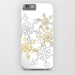 Gold and Silver Snowy Mandalas Christmas Shimmer iPhone Case