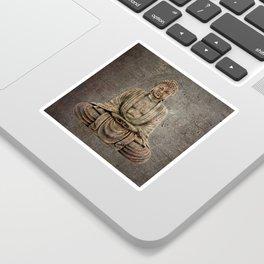 Sitting Buddha On Distressed Metal Background Sticker
