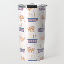 Hand drawn  lit candles on birthday cake with flower bouquet Travel Mug