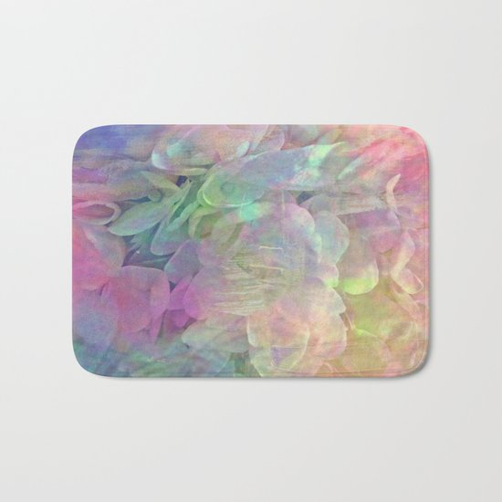 Sweet Pastel Garden Hydrangea Abstract Bath Mat
