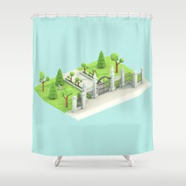 Low Poly Trinity Bellwoods Shower Curtain
