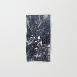 wood flower_blue Hand & Bath Towel