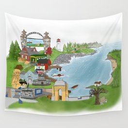 Louisbourg Illustrated in Color Wall Tapestry