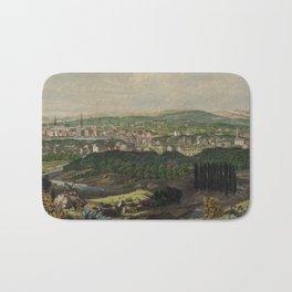 Vintage Pictorial Map of Bridgeport CT (1857) Bath Mat