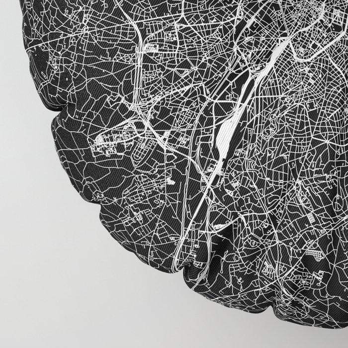 Brussels Black Map Floor Pillow
