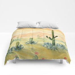 Desert Sunset Landscape Comforters