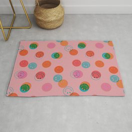 Smiley Face Stamp Print in Pink Rug