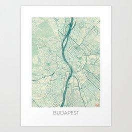 Budapest Map Blue Vintage Art Print