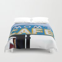 cafe Duvet Covers featuring Mom's Cafe by KJEANPHOTOGRAPHY