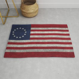 Betsy Ross flag, distressed textures Rug