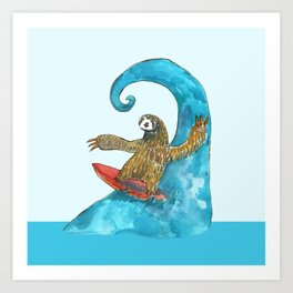 surfing sloth in the spring Art Print