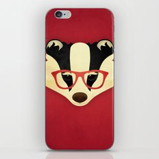Hipster Badger: Red iPhone & iPod Skin