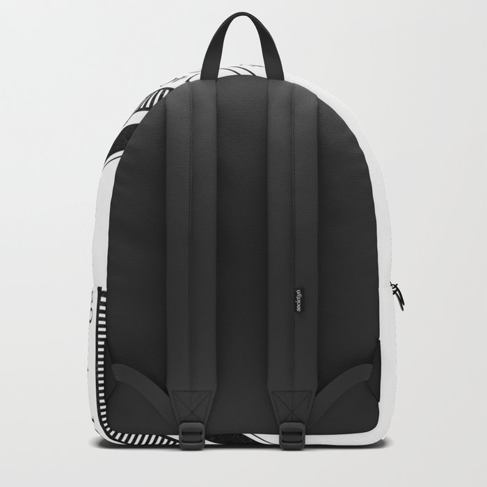 Textured Compass on White Backpack