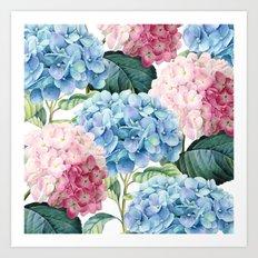 Pink Blue Hydrangea Art Print