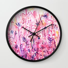 watercolor pink grass Wall Clock