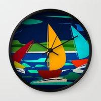 sailing Wall Clocks featuring sailing by laika in cosmos