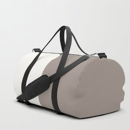 Off White and Brown Duffle Bag