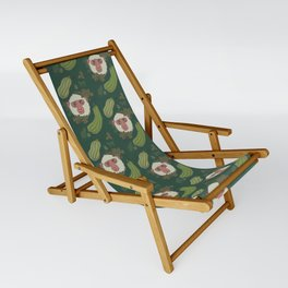 Macaques & Squash (forest green) Sling Chair