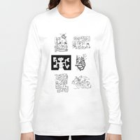 maps Long Sleeve T-shirts featuring Thirty Five Dungeon Maps by Tony Dowler