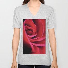 Red Rose Close Up Unisex V-Neck