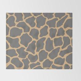 Safari Giraffe Print - Gray & Beige Throw Blanket