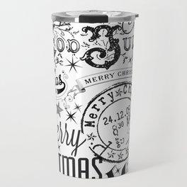 Black and White Christmas Typography Design Travel Mug