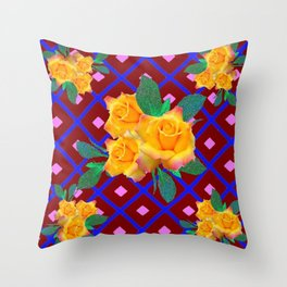 Triple Golden Rose Bouquet Purple-Blue Art Throw Pillow