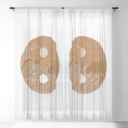 Yin Yang Wave Sun and Moon  Sheer Curtain