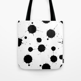 Black and White Ink Blotches Pattern Tote Bag