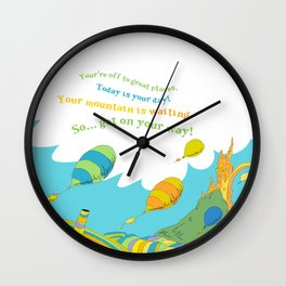 Oh the places you'll go special custom colors  Wall Clock