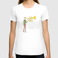 blow the horn you've got MEDIUM Womens Fitted Tee White