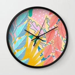 Modern Jungle Plants - Bright Pastels Wall Clock