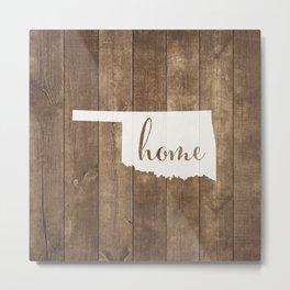 Oklahoma is Home - White on Wood Metal Print