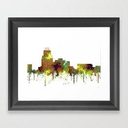 Durham, NC Skyline SG - Safari Buff Framed Art Print