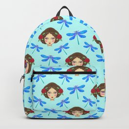 Pretty dragonflies, beautiful young girls. Feminine folk artistic gorgeous lovely baby blue pattern. Backpack