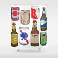 beer Shower Curtains featuring Beer by Jennifer Epstein