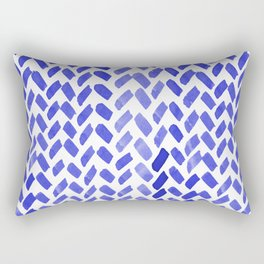 Cute watercolor knitting pattern - blue Rectangular Pillow