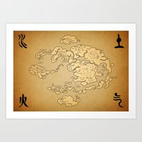 the last airbender Art Prints featuring Avatar Last Airbender Map by KewlZidane