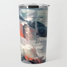 Eye of the Storm [2] - abstract mixed media piece in blues, white, and red Travel Mug