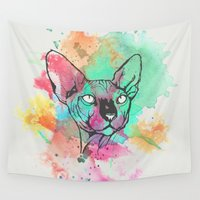sphynx Wall Tapestries featuring Watercolor Sphynx by Zeke Tucker