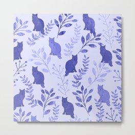 Watercolor Floral and Cat VII Metal Print