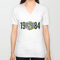 1984 V-neck T-shirts featuring 1984  by CaptClare