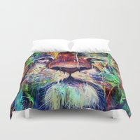 lion Duvet Covers featuring Lion by nicebleed