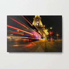 City Lights; Eiffel Tower Metal Print