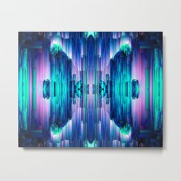 Cavernous Glitch - Abstract Pixel Art Metal Print